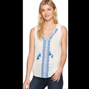 Lucky Brand Embroidered sleeveless top L